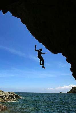 Rock Climbers Play Deep Water Solo In Hong Kong